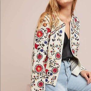 ANTHROPOLOGIE Kirian Floral Embroidered Jacket